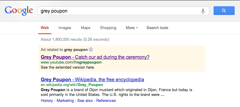 Screenshot of paid Google ad for Grey Poupon