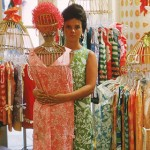Vintage 1960s Lilly Pulitzer wearing her own design in one of her early shops