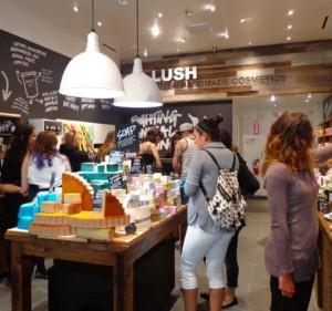 Customers inside a Lush store. Source: Lush Blog