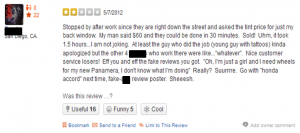 A negative review points out a fake post. Source: Yelp