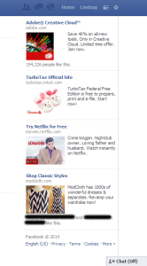 An array of paid advertisements from Facebook