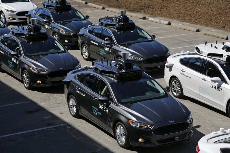 self-driving-uber-vehicles are lined-up to take journalists on rides during a media-preview at the company's Advanced-Technologies Center in Pittsburgh, PA   Photo: Uber